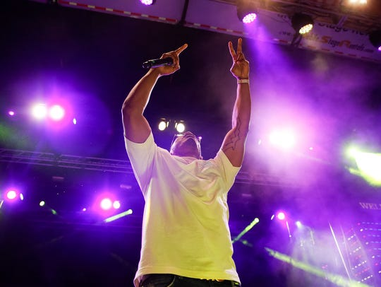 Rapper Nelly performs during day 1 of Neon Desert in