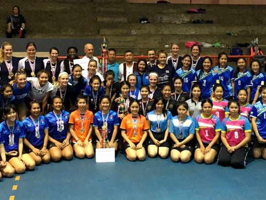 American players on a 2016 Athletes in Action trip, including Makenzie Bouse of Willard, pause for a photo at the end of a tournament in Thailand.