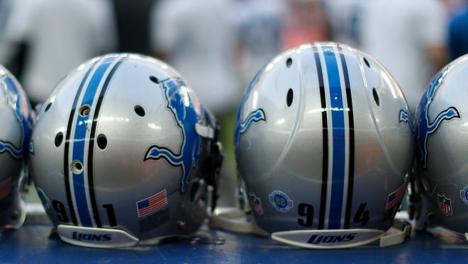 Detroit Lions helmets sit during the NFL game between Kansas City Chiefs and Detroit Lions at Wembley Stadium on November 01, 2015 in London, England.