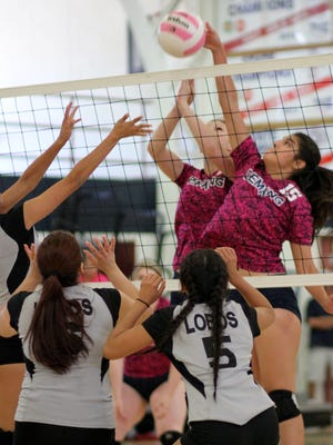 Sophomore Lady Cat Joleen Perez (15) teams with Elena Williams to send the ball back over the net against the Chaparral High Lobos on Saturday, Oct. 15, 2016, at Deming High School. The Lobos defeated Deming 25-11, 25-13 and 25-17.