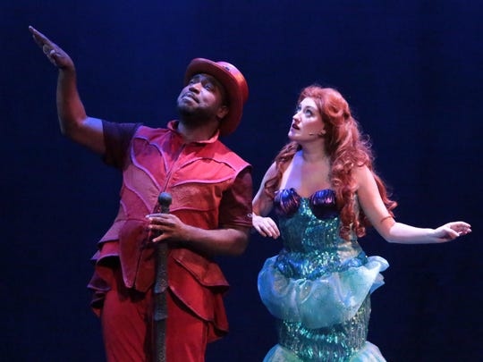 """Dez Walker, left, and Kryssy Becker from the Stagecrafters production of """"Disney's The Little Mermaid"""" at the Baldwin Theatre in Royal Oak."""