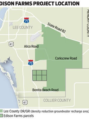 Edison Farms' 4,000 acres lie easst of I-75 between Corkscrew and Bonita Beach Roads in South Lee County.