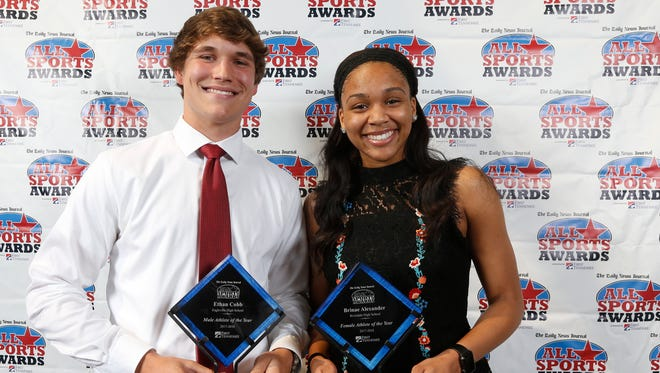 Boys Athlete of the Year Ethan Cobb and Girls Athlete of the Year Brinae Alexander The Daily News Journal 25th Annual All Sports Awards presented by First Tennessee at the Doubletree in Murfreesboro, on Sunday, May 6, 2018.