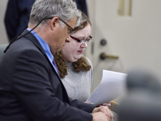 Karri Benoir reads a letter of apology before she is sentenced charges relating to a 2015 fatal crash in which Benoir crossed the I-89 median and collided with Brendon Cousino. She was sentenced during a hearing in Vermont Superior Court in Burlington on Monday, October 9, 2017.