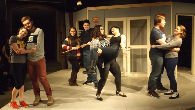 "Rehearsing for the upcoming performance of the French farce ""A Gown for His Mistress"" are, from left, Mary Preston, Nathan Edwards, Lyssa Fradella, John Pilat, Sarah Kaschalk, Kelsey Sherlock, Trevor Stone and El Hoodak."