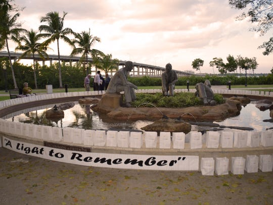 """This fountain in Centennial Park in Fort Myers is where luminaries will be on display on Thursday, Jan. 28 at """"A Light to Remember"""", an event to remember or honor people with Alzheimer's and other forms of dementia."""