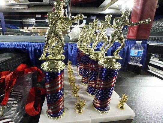 Trophies await the winners Saturday at the County Coliseum.