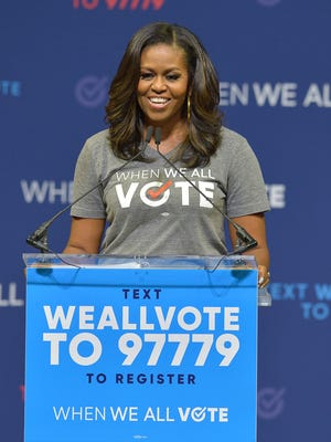 Former First Lady Michelle Obama speaks during a When We All Vote Rally at the University of Miami.