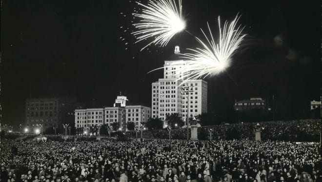 A crowd, estimated at anywhere from 55,000 to 150,000 people, gathers at Milwaukee's lakefront Sept. 17, 1941, for the final night of entertainment at the 1941 national American Legion convention. Fireworks capped a day that also included drill team competitions and performances by national entertainers. This photo was published in the Sept. 18, 1941, Milwaukee Journal.