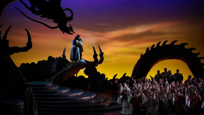 """The ensemble in Palm Beach Opera's production of the Puccini opera """"Turandot"""" at the Kravis Center."""