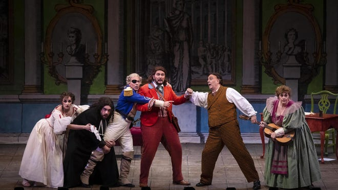 """The cast in rehearsal for Palm Beach Opera's 2020 production of """"The Barber of Seville."""""""