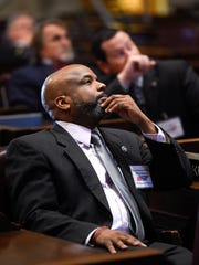 Rick Staples D-Knoxville watches a video during orientation inside the House chamber. Staples is a new Democrat in the Legislature dominated by Republicans