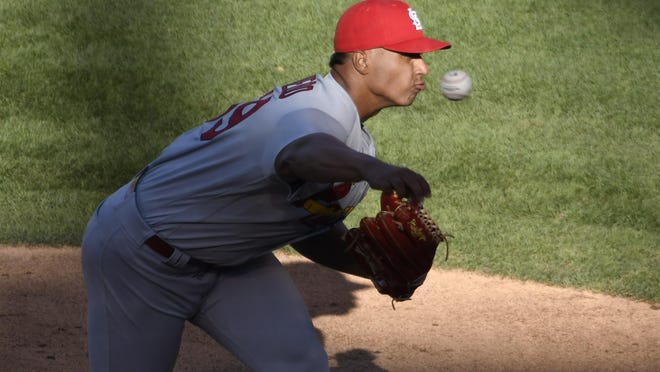 St. Louis Cardinals starting pitcher Johan Oviedo throws the ball against the Chicago Cubs during the first inning of Game 2 of a Wednesday's doubleheader, in Chicago.