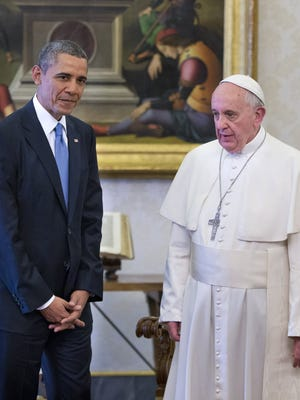 President Obama meets with Pope Francis at the Vatican on March 27, 2014.