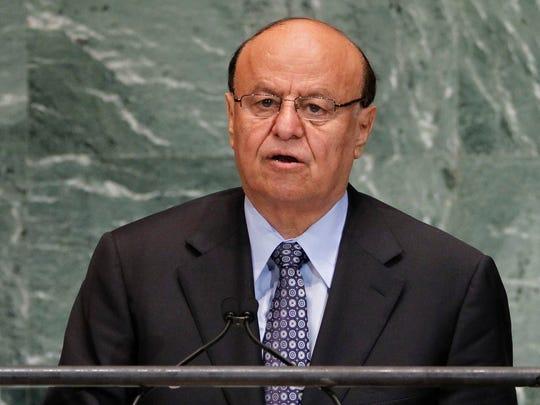 Abed Rabbo Mansour Hadi, president of Yemen, addresses