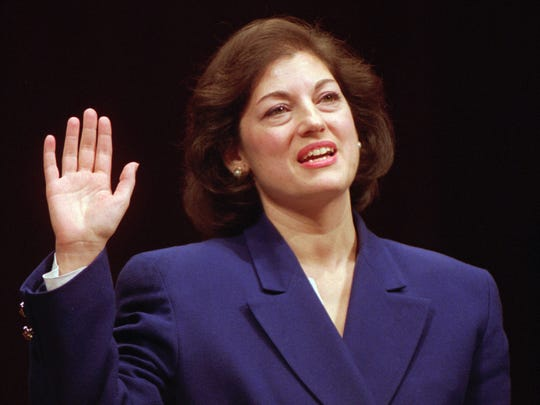 In this January 1993 file photo, Zoe Baird is sworn