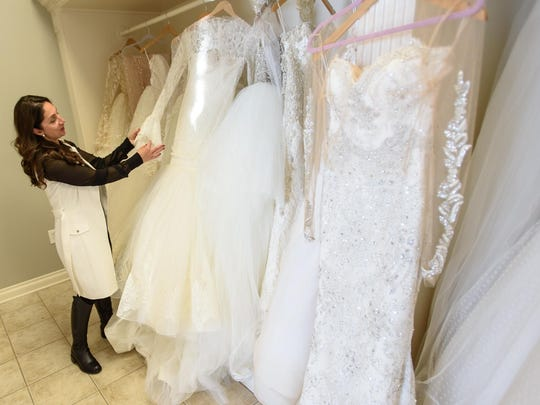 Designer Katerina Bocci shows her new collection of wedding dress creations at her studio in Shelby Township.