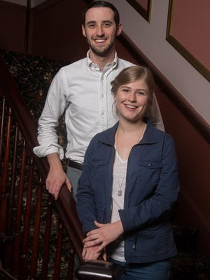 """Ellen Diehl as Belle and Mat Levine as the Beast star in CCT's production of Disney's """"Beauty and the Beast."""""""