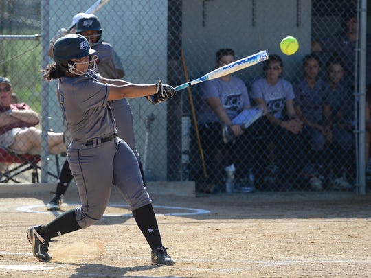 Sussex Tech's Madison Watson with a hit against Delmar on Tuesday, May 2, 2017.
