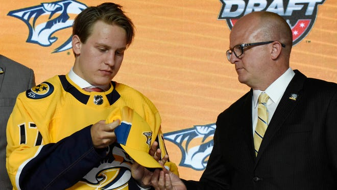 The Predators selected Eeli Tolvanen with the No. 30 pick in the NHL draft Friday.