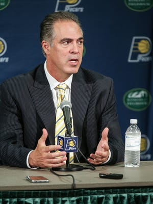 Indiana Pacers President of Basketball Operations Kevin Pritchard talks about draft pick T.J. Leaf during an Indiana Pacers press conference at Bankers Life Fieldhouse on Friday, June 23, 2017.