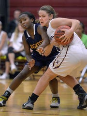Pittsford Mendon's Sara Lyons, right, shown grabbing