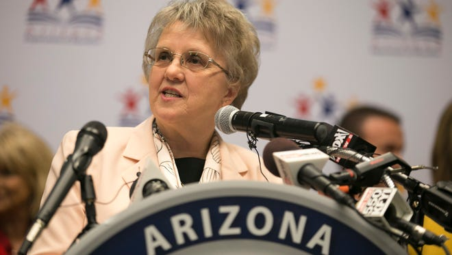 "Arizona Superintendent of Public Instruction Diane Douglas launches her ""We Heard You"" tour during a press conference at the Phoenix Art Museum on Thursday, October 1, 2015."