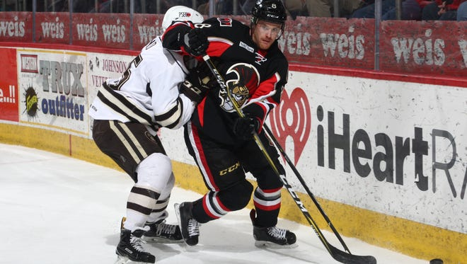 The Binghamton Senators fell behind early and lost, 7-1, to the visiting Hershey Bears on Saturday.