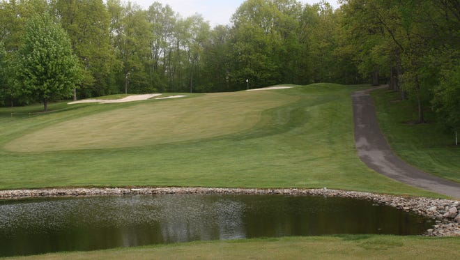 A look at hole No. 3, an uphill par 3, at Travis Pointe Country Club in Ann Arbor.