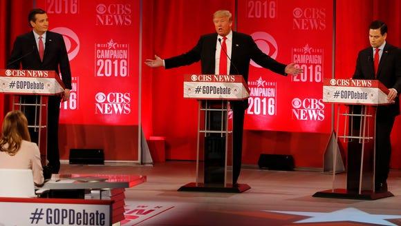 Donald Trump speaks during the Feb. 13, 2016, debate