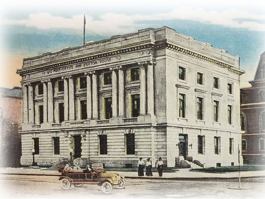 Devoid of trees: The Main Street facade of Chittenden County Courthouse in Burlington is seen in this hand-tinted photo from 1910.