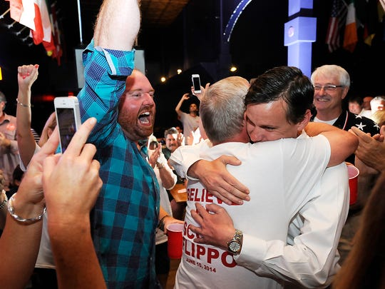 Scott Flippo is congratulated after winning the District 17 state Senate seat June 10. Republicans swept both local and state races in 2014.