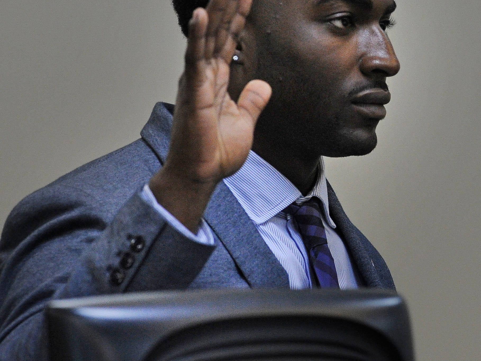 Corey Batey is sworn in onWednesday Oct. 8, 2014, in Nashville in Tenn.