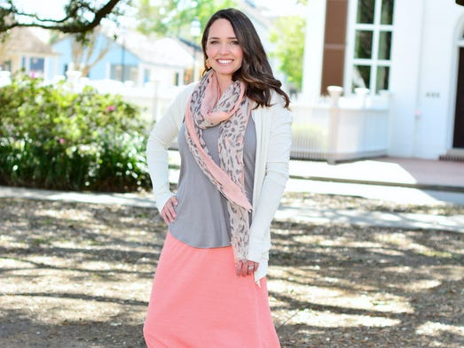Jacquie Dannreuther. Gray racer-back tank, $40, coral soft knit maxi skirt, $48, Fly away cream cardigan, $48, coral/taupe animal print scarf, $20, Toms taupe suede platform wedge, $79, coral and gold earrings, $10, and layered bangles, $1 each, Lee Tracy