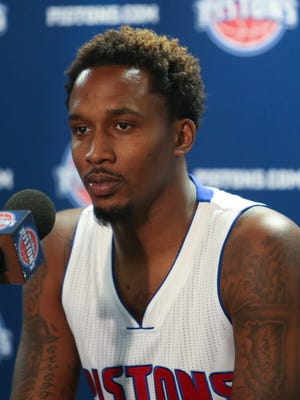 Detroit Pistons point guard Brandon Jennings talks with reporters during the Pistons media day Monday, September 28, 2015 at The Palace of Auburn Hills.