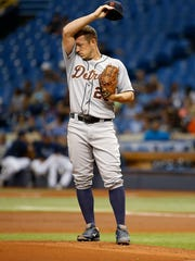 Tigers pitcher Jordan Zimmermann (27) reacts on the