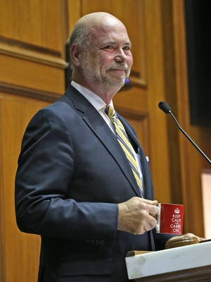 House Speaker Brian Bosma smiles during the opening session in the House Chambers, on Organization Day at the Indiana Statehouse, Tuesday, Nov. 21, 2017.