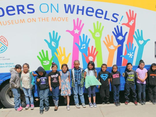 Mescalero students wait to enter the Wonders on Wheels mobile musuem.