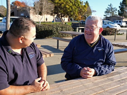 Freddy Fuentes, left, and George Grimm photographed in El Dorado Park in Salinas on Monday.