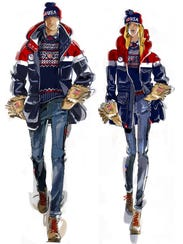 Sketches of the Men's and Women's Opening Ceremony uniforms for the 2018 Winter Olympics in Pyeongchang, Korea, by Ralph Lauren.