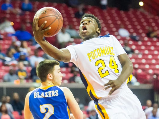 Pocomoke guard Tyree Thornton (24) takes a shot against Clear Spring in the 1A MPSSAA semifinals at the Xfinity Center in College Park on Friday, March 11.
