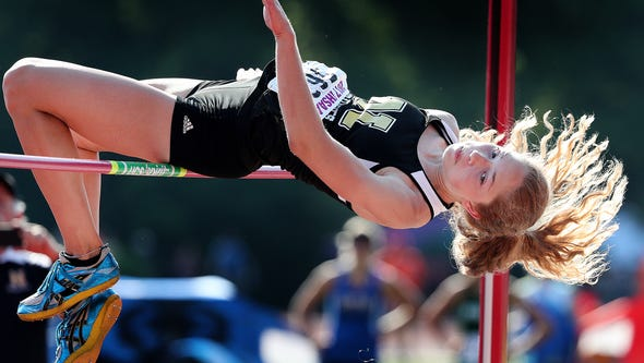 FILE from 2017 -- Noblesville's Shelby Tyler clears
