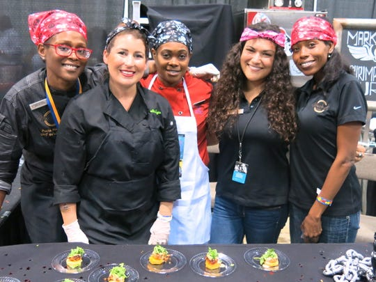 The Hilton, Shreveport Convention Center crew served Grits and Shrimp Cakes: Mariah Hicks, Laurelle Kyte, Keisha Stinson, Kimberly Harrington, Tenge Nelson.