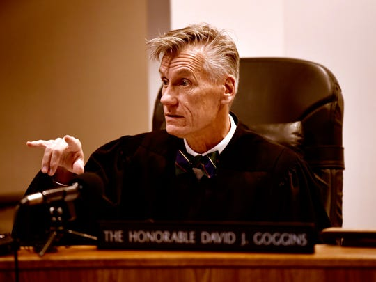 Judge David J. Goggins conducts the hearing of Nick Lyon Wednesday.