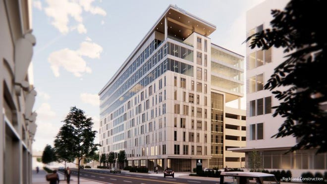 A rendering provided by Rockford Construction shows Perrigo's North America headquarters, which will be housed in Michigan State University's Innovation Park, located at the corner of Monroe Avenue NW and Michigan Street in Grand Rapids.