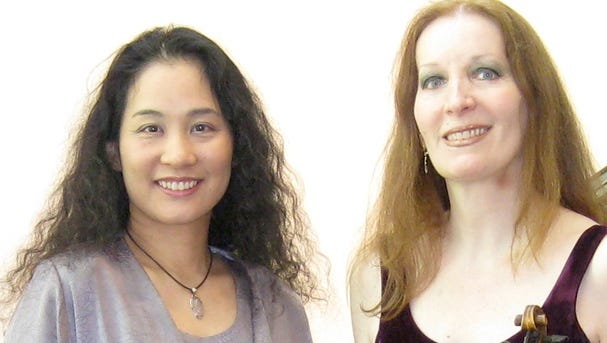 Tomoko Kanamaru, left, and Elmira Darvarova will perform at 3 p.m. Nov. 15 at the Phelps Mansion Museum.