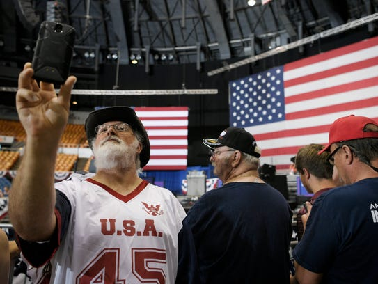 Trump supporter Bruce Roberts of Georgia takes a selfie