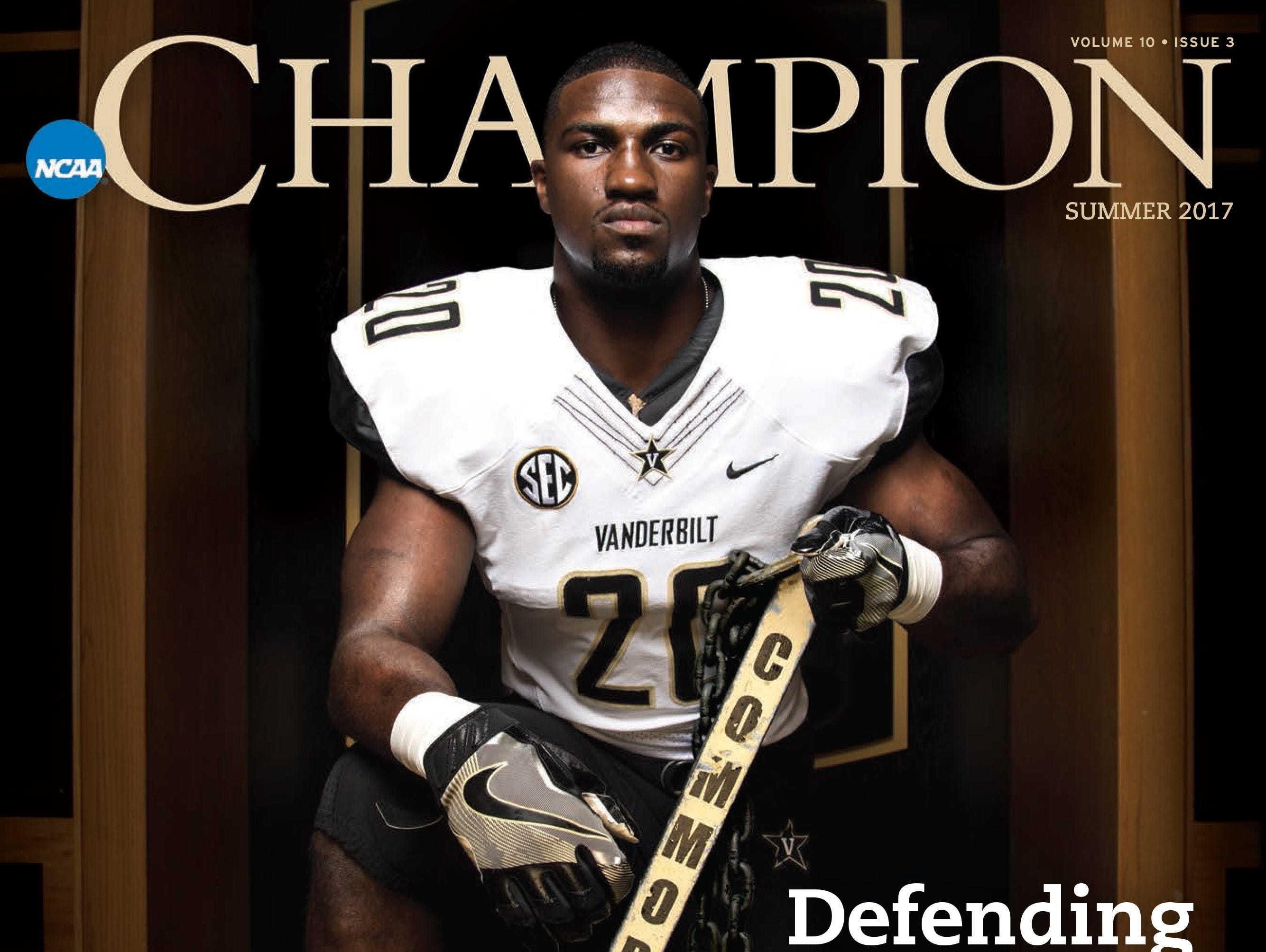 Vanderbilt linebacker Oren Burks is featured on the cover of the current issue of NCAA Champion magazine.