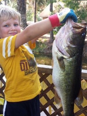 Cole Collins, 5, of Melbourne shows off the 10-pound largemouth bass he caught and released on his small Zebco spin-casting outfit in a Lake Washington canal from his grandfather's dock. He caught a small bluegill for bait. Cole started fishing with his grandfather, Gary Tam, when he was 2 1/2. Cole is the son of Bob and Tracey Collins, who are having a taxidermist replica mount made of the catch.