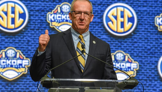 SEC commissioner Greg Sankey speaks during SEC football media day at the College Football Hall of Fame. Mandatory Credit: Dale Zanine-USA TODAY Sports